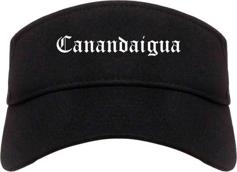 Canandaigua New York NY Old English Mens Visor Cap Hat Black