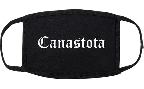 Canastota New York NY Old English Cotton Face Mask Black