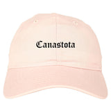 Canastota New York NY Old English Mens Dad Hat Baseball Cap Pink