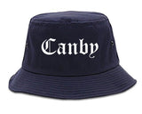 Canby Oregon OR Old English Mens Bucket Hat Navy Blue