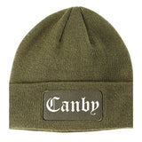 Canby Oregon OR Old English Mens Knit Beanie Hat Cap Olive Green