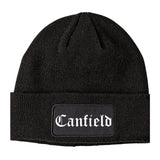 Canfield Ohio OH Old English Mens Knit Beanie Hat Cap Black