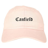 Canfield Ohio OH Old English Mens Dad Hat Baseball Cap Pink