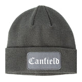 Canfield Ohio OH Old English Mens Knit Beanie Hat Cap Grey