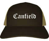 Canfield Ohio OH Old English Mens Trucker Hat Cap Brown