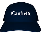 Canfield Ohio OH Old English Mens Trucker Hat Cap Navy Blue