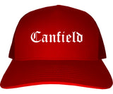 Canfield Ohio OH Old English Mens Trucker Hat Cap Red