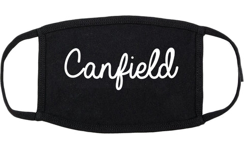 Canfield Ohio OH Script Cotton Face Mask Black