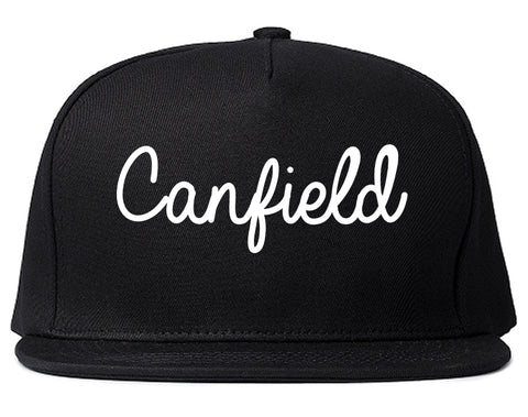 Canfield Ohio OH Script Mens Snapback Hat Black