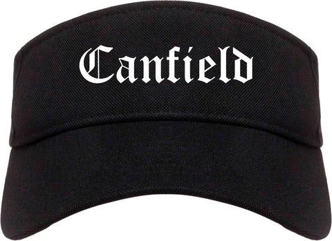 Canfield Ohio OH Old English Mens Visor Cap Hat Black