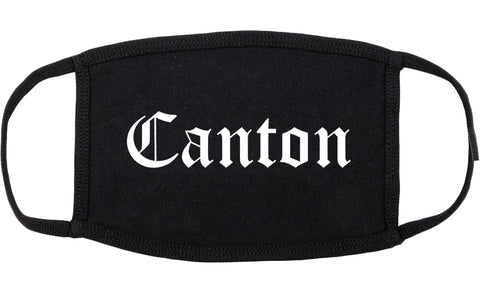 Canton Illinois IL Old English Cotton Face Mask Black