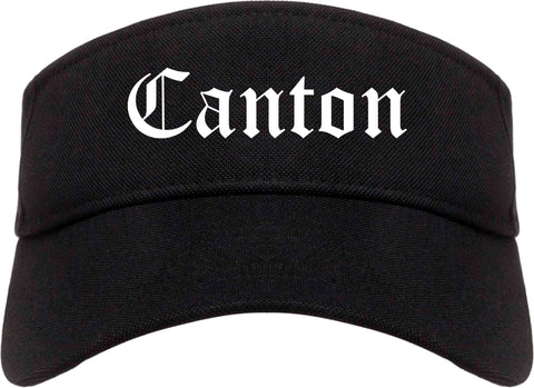 Canton Illinois IL Old English Mens Visor Cap Hat Black