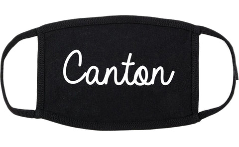 Canton Mississippi MS Script Cotton Face Mask Black