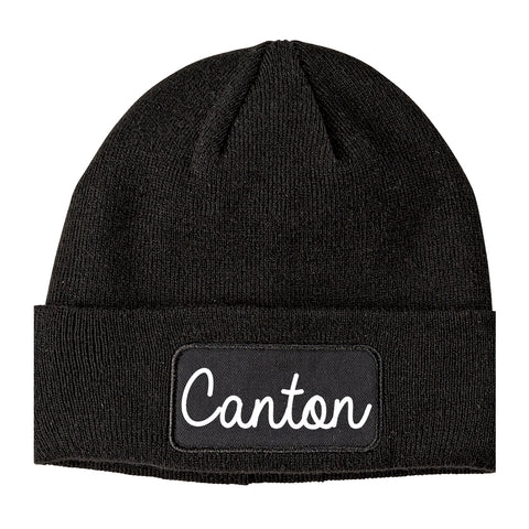 Canton Ohio OH Script Mens Knit Beanie Hat Cap Black