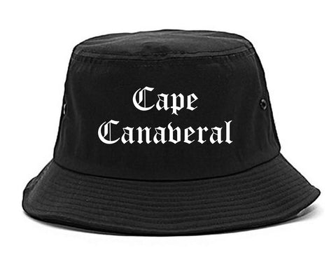 Cape Canaveral Florida FL Old English Mens Bucket Hat Black