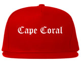 Cape Coral Florida FL Old English Mens Snapback Hat Red