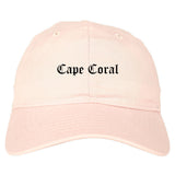 Cape Coral Florida FL Old English Mens Dad Hat Baseball Cap Pink