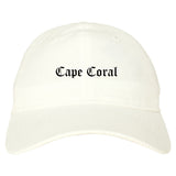 Cape Coral Florida FL Old English Mens Dad Hat Baseball Cap White