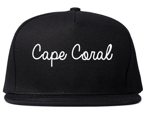 Cape Coral Florida FL Script Mens Snapback Hat Black