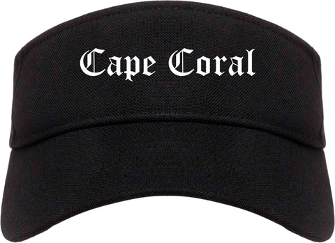 Cape Coral Florida FL Old English Mens Visor Cap Hat Black