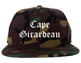 Cape Girardeau Missouri MO Old English Mens Snapback Hat Army Camo