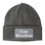 Cape Girardeau Missouri MO Old English Mens Knit Beanie Hat Cap Grey