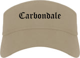 Carbondale Colorado CO Old English Mens Visor Cap Hat Khaki