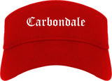 Carbondale Colorado CO Old English Mens Visor Cap Hat Red
