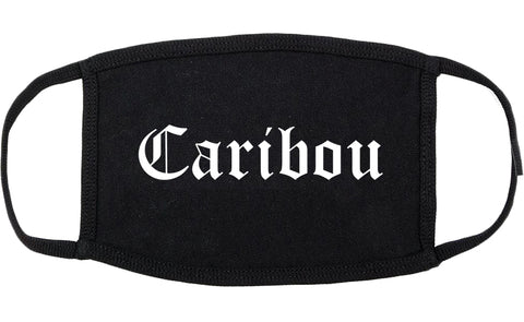 Caribou Maine ME Old English Cotton Face Mask Black