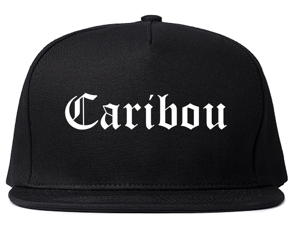 Caribou Maine ME Old English Mens Snapback Hat Black