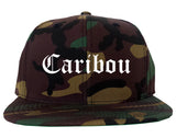 Caribou Maine ME Old English Mens Snapback Hat Army Camo