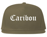Caribou Maine ME Old English Mens Snapback Hat Grey