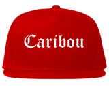 Caribou Maine ME Old English Mens Snapback Hat Red