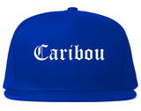 Caribou Maine ME Old English Mens Snapback Hat Royal Blue