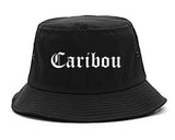 Caribou Maine ME Old English Mens Bucket Hat Black