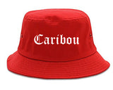 Caribou Maine ME Old English Mens Bucket Hat Red