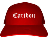 Caribou Maine ME Old English Mens Trucker Hat Cap Red