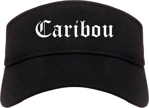 Caribou Maine ME Old English Mens Visor Cap Hat Black