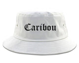 Caribou Maine ME Old English Mens Bucket Hat White