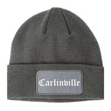 Carlinville Illinois IL Old English Mens Knit Beanie Hat Cap Grey