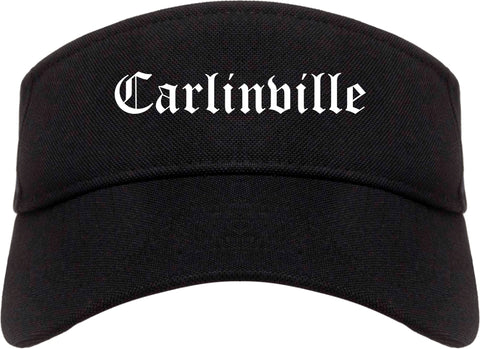 Carlinville Illinois IL Old English Mens Visor Cap Hat Black