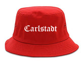 Carlstadt New Jersey NJ Old English Mens Bucket Hat Red