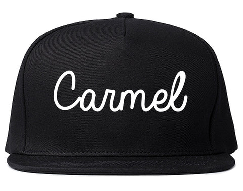 Carmel Indiana IN Script Mens Snapback Hat Black