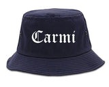 Carmi Illinois IL Old English Mens Bucket Hat Navy Blue
