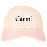 Carmi Illinois IL Old English Mens Dad Hat Baseball Cap Pink