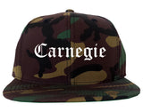 Carnegie Pennsylvania PA Old English Mens Snapback Hat Army Camo