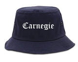 Carnegie Pennsylvania PA Old English Mens Bucket Hat Navy Blue