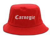 Carnegie Pennsylvania PA Old English Mens Bucket Hat Red