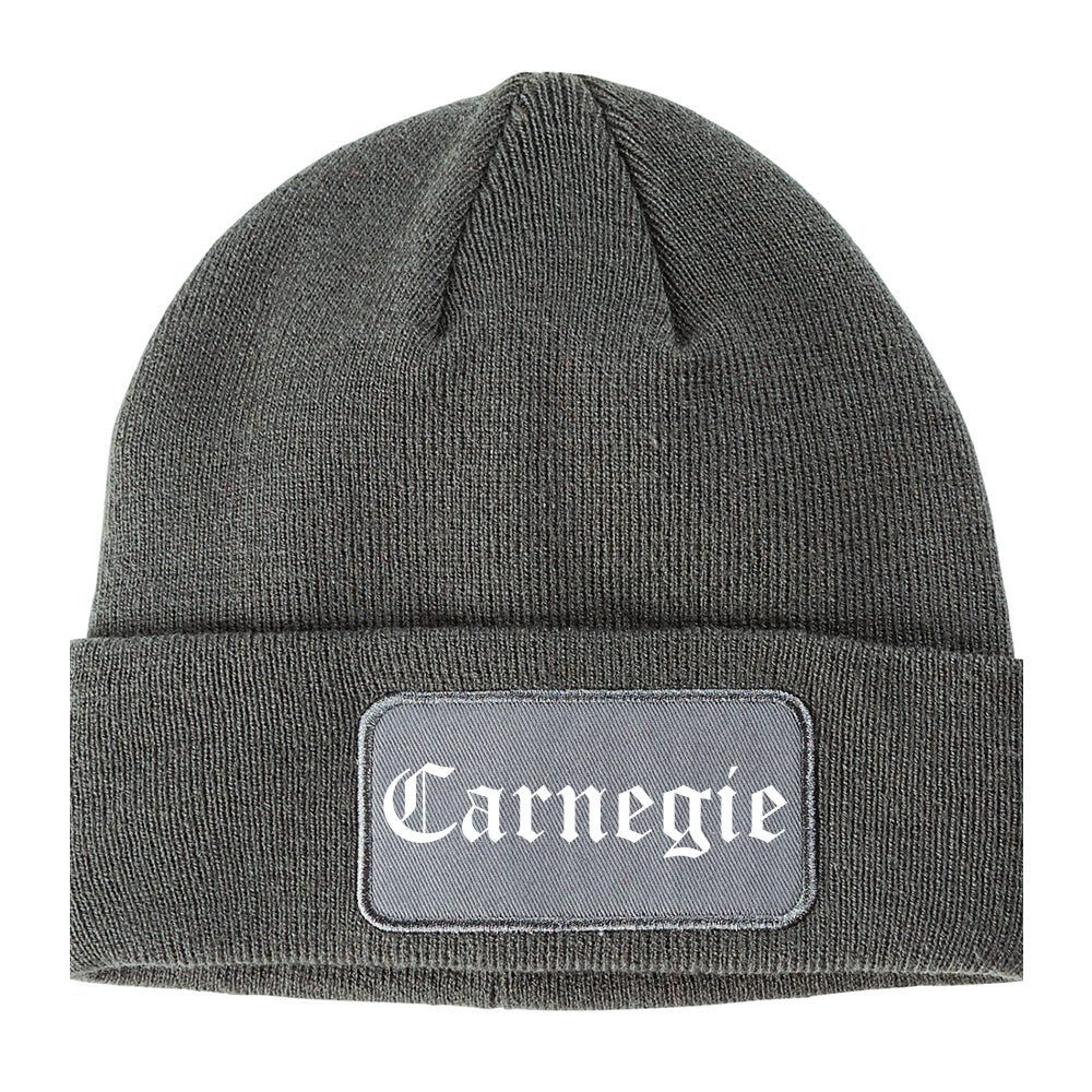 Carnegie Pennsylvania PA Old English Mens Knit Beanie Hat Cap Grey