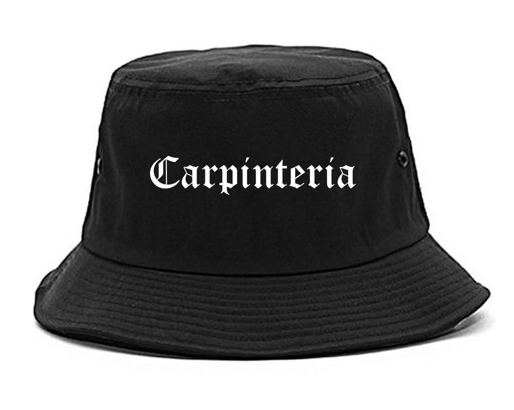 Carpinteria California CA Old English Mens Bucket Hat Black